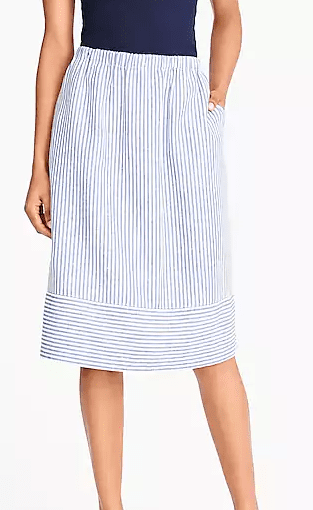 J Crew Striped cotton-linen midi skirt